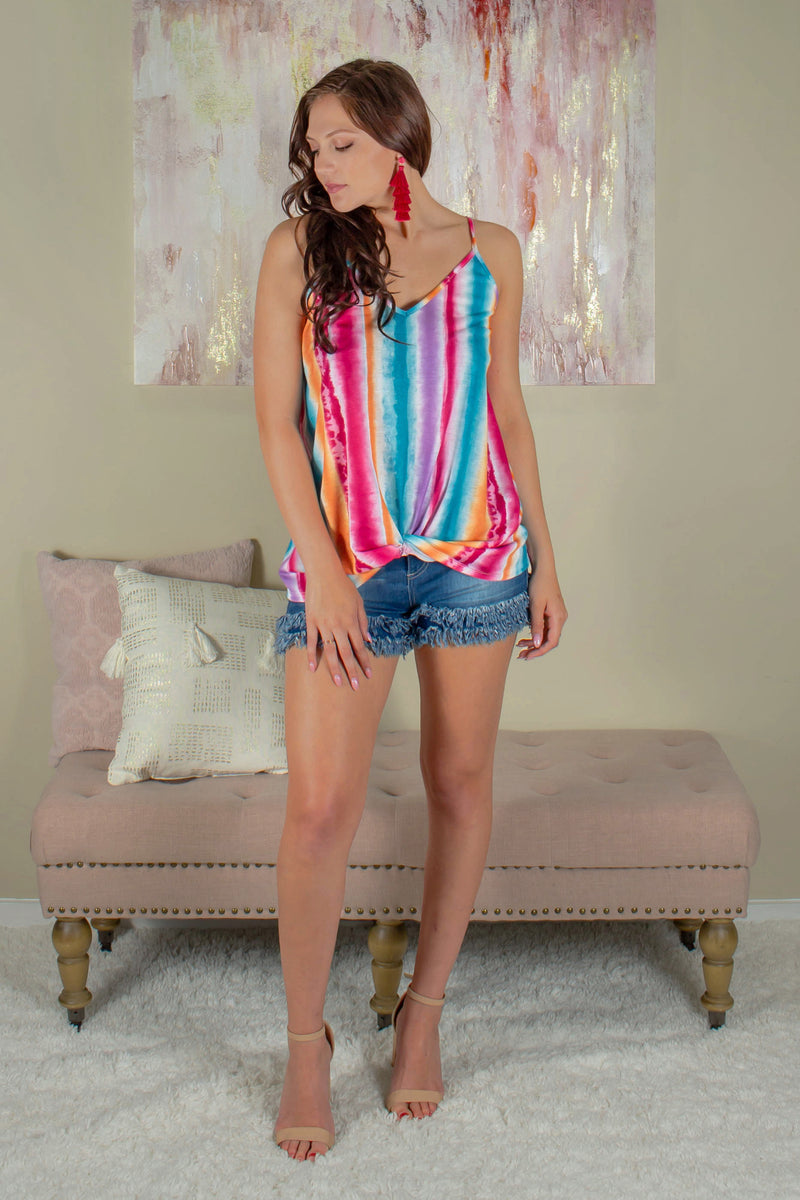 Rainbow Striped Tank Top, Rainbow Top, Multicolored Top
