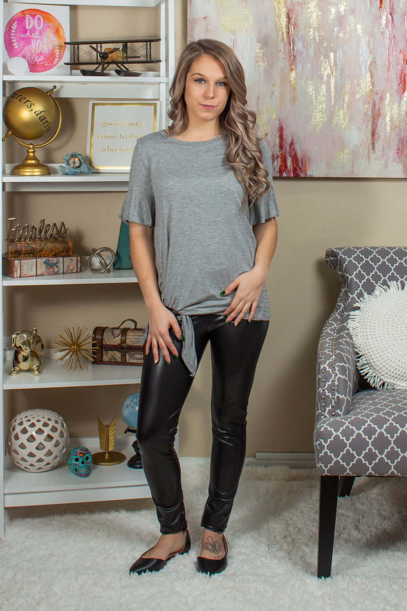 Trendy gray side tie top, Trendy gray tee, Trendy grey tee, Trendy heather grey top