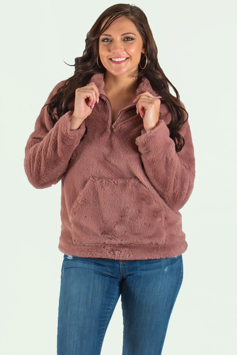 trendy mauve fleece pullover, boutique tops, boutique fleece pullover