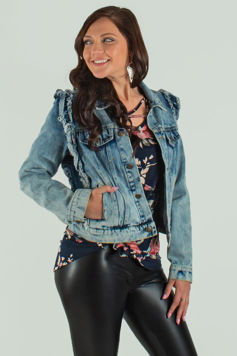 cute ruffle jacket, cute ruffle jean jacket