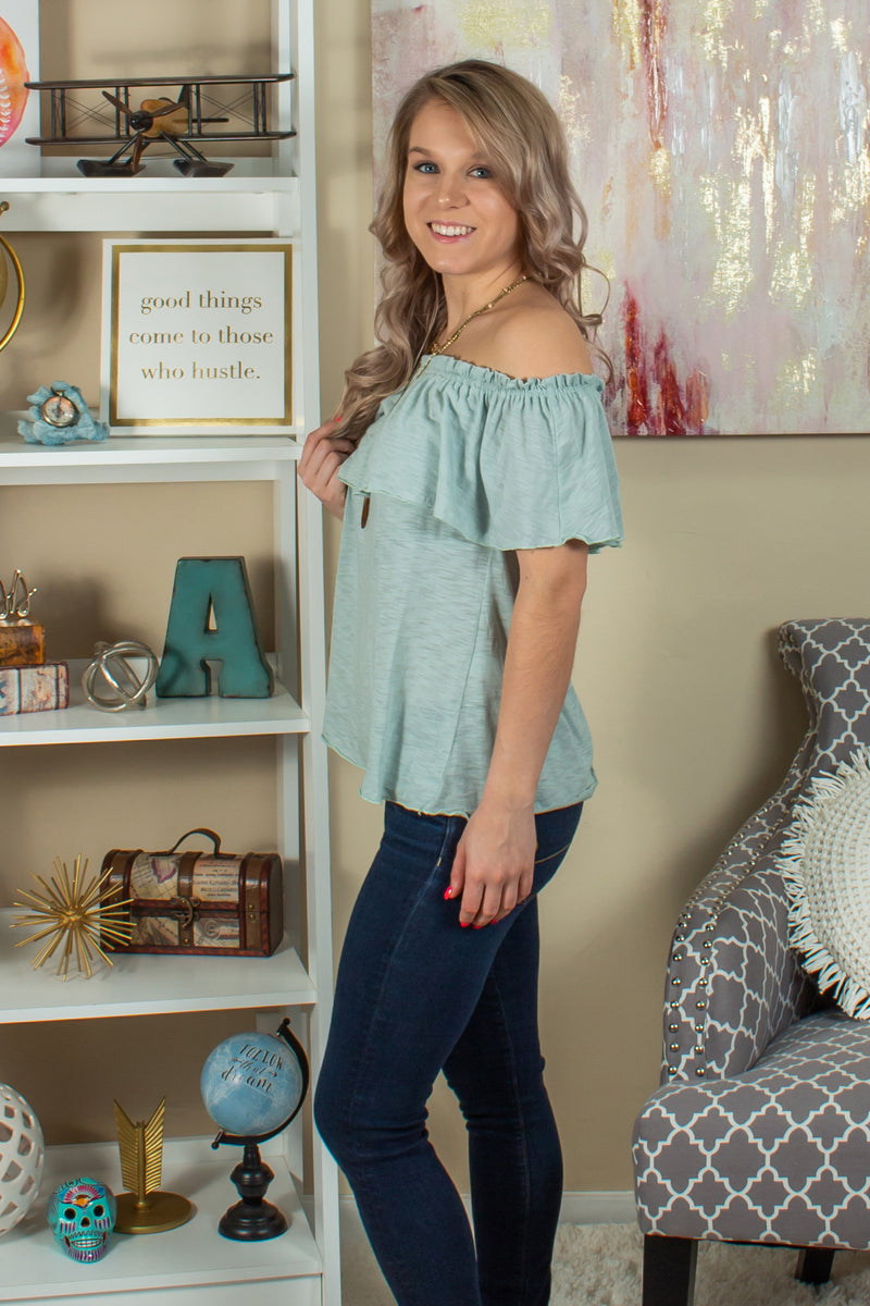 cute off the shoulder top, cute off the shoulder blouse, cute green off the shoulder top