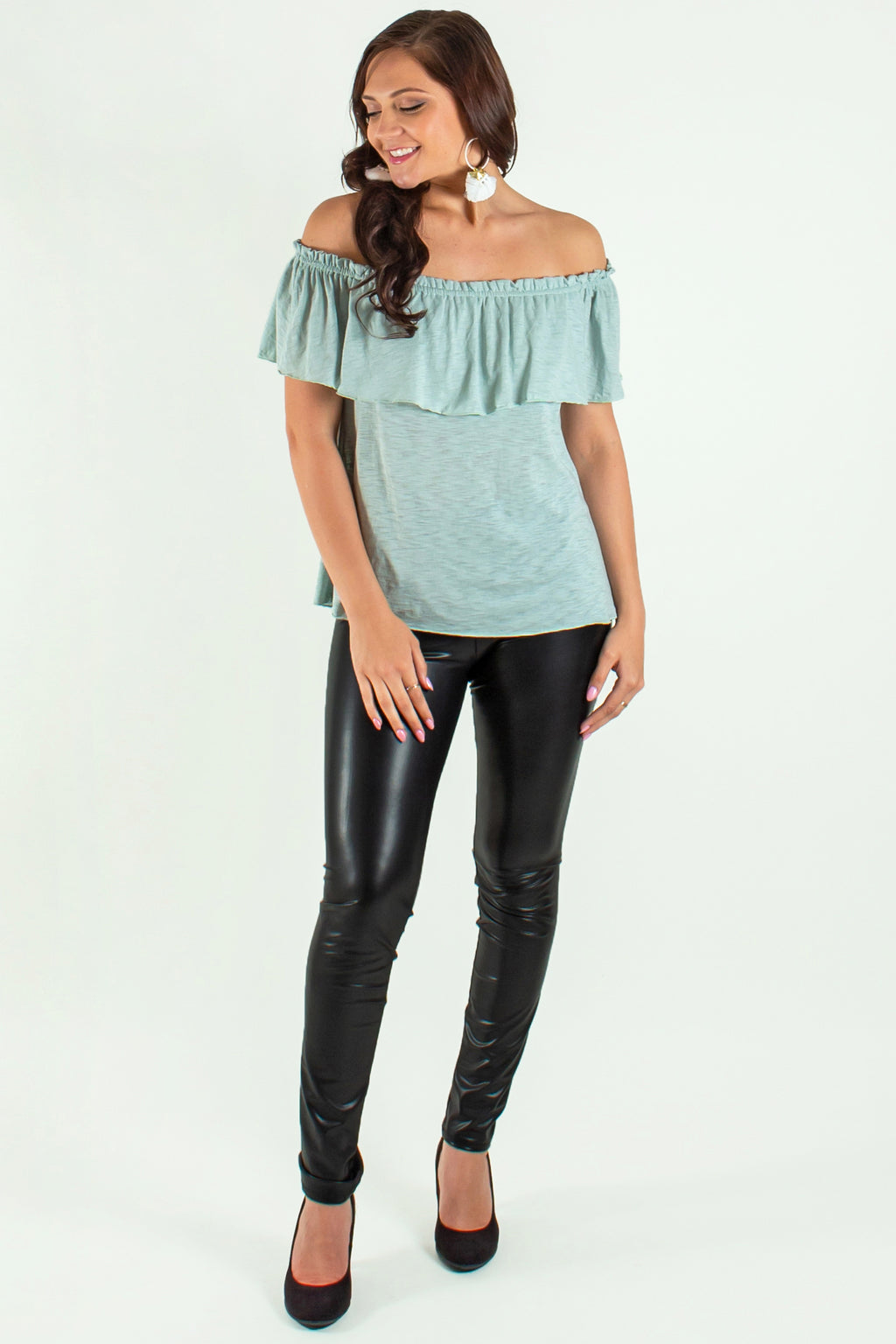 seafoam off the shoulder top, green off the shoulder top, green off the shoulder blouse