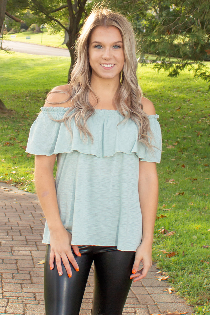 trendy off the shoulder blouse, trendy green off the shoulder top