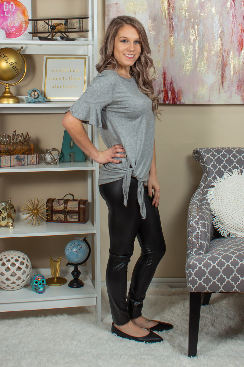 Cute heather grey top, Cute heather gray top, Trendy grey top, Trendy gray top