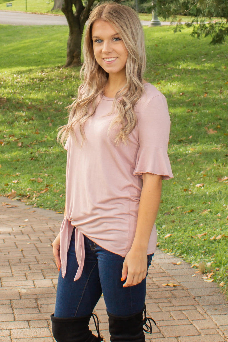 Trendy side tie top, Trendy pink side tie top, Trendy light pink side tie top