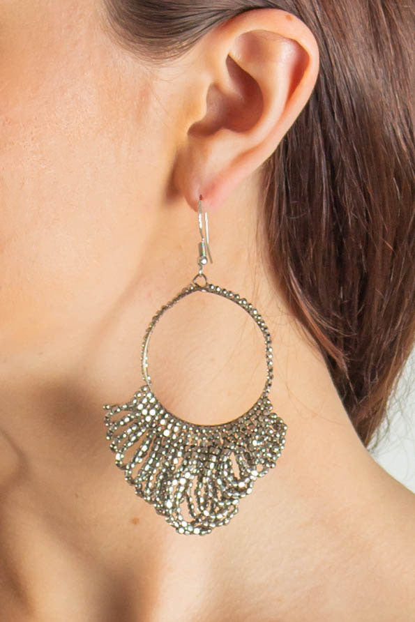 Claudette Beaded Drop Hoop Earrings