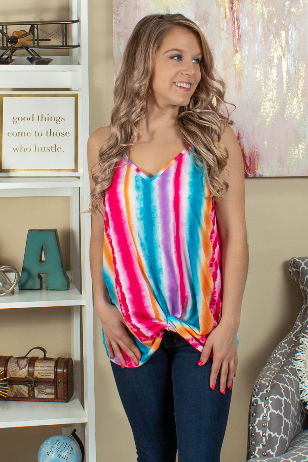 Striped Tank Top, Rainbow Striped Tank Top, Rainbow Top