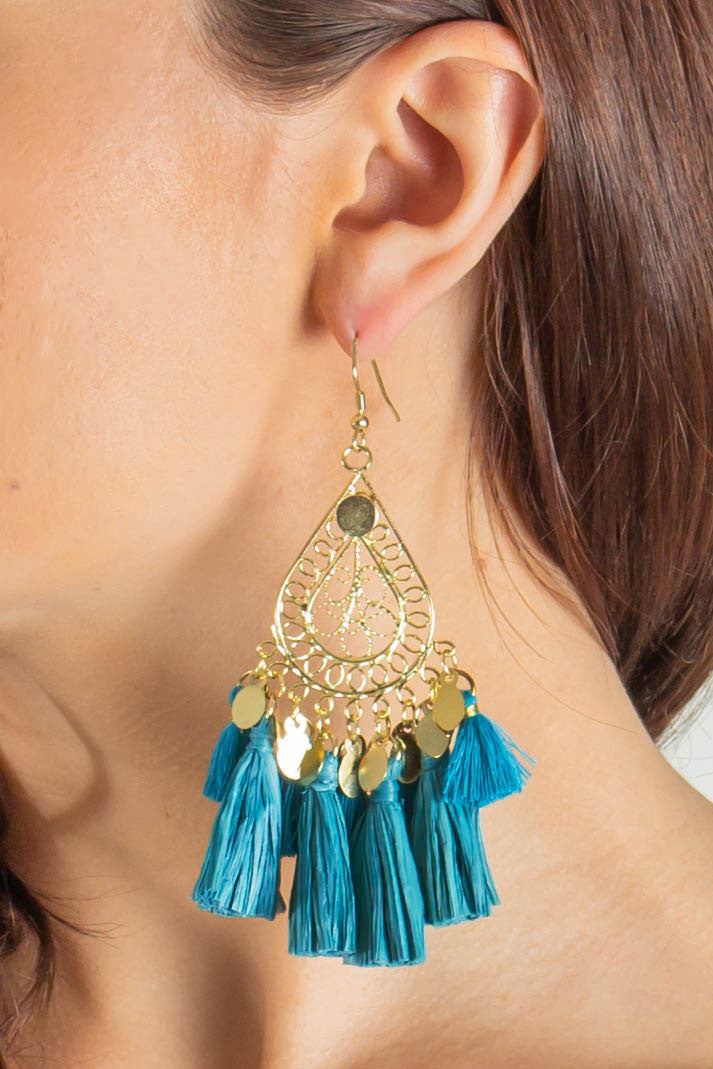 Make It Sweet Hoop Drop Tassel Earrings (White)