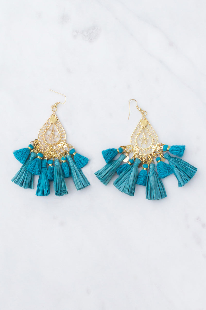 teal boutique earrings, teal fashion earrings, teal tassel earrings, cute teal earrings, trendy teal earrings