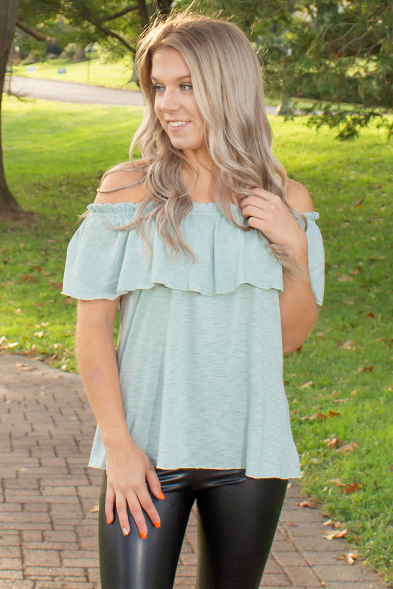 cute boho top, trendy off the shoulder top