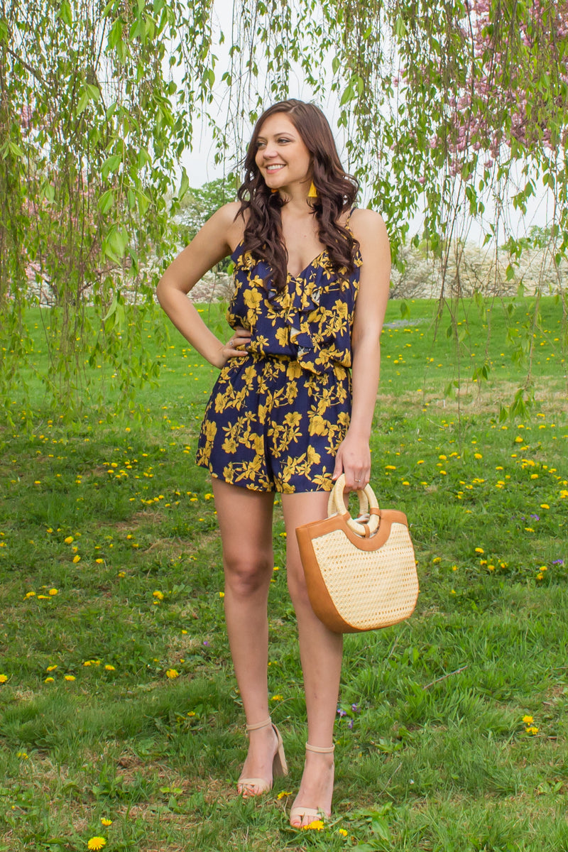 Trendy yellow floral romper, Trendy yellow romper