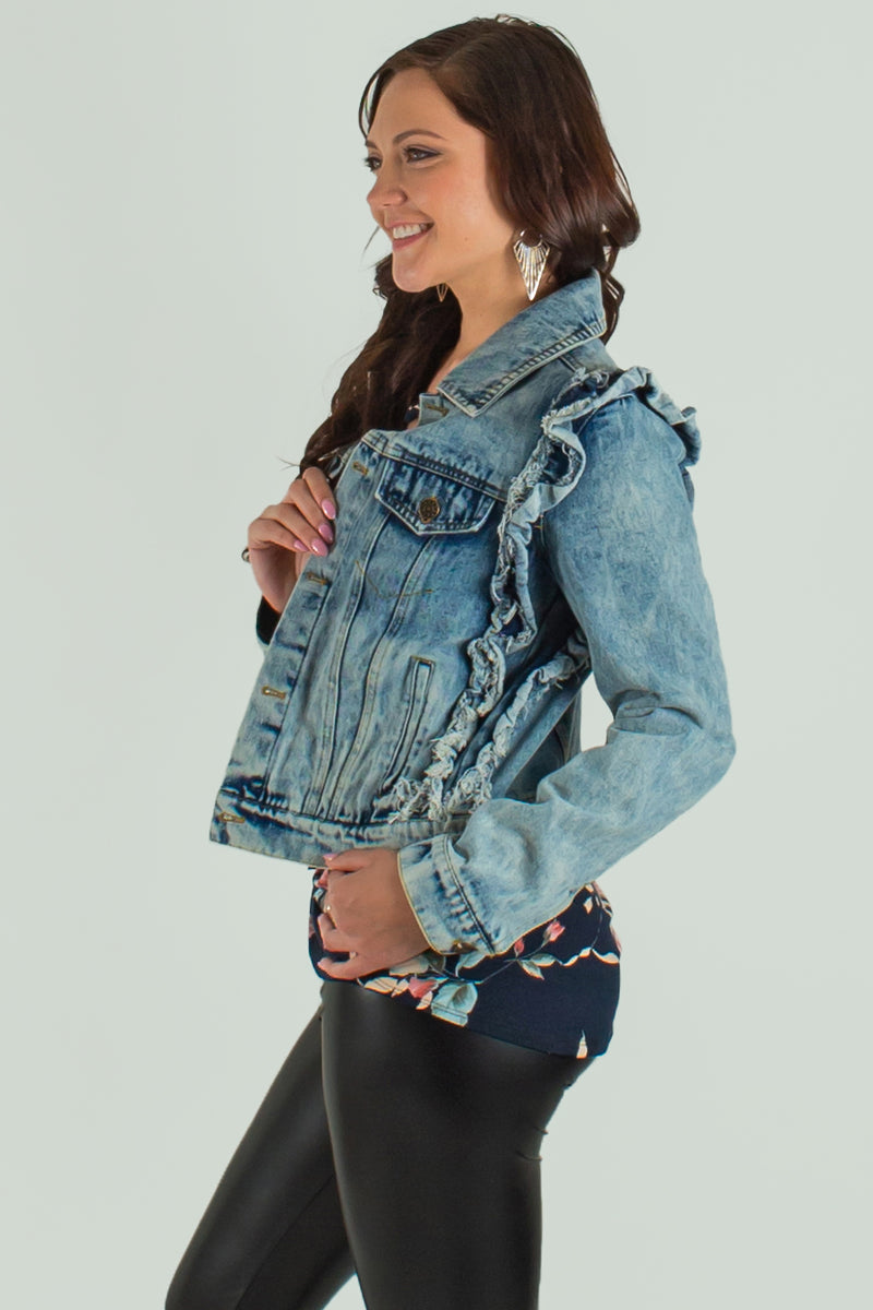 ruffle denim jacket, trendy ruffle denim jacket