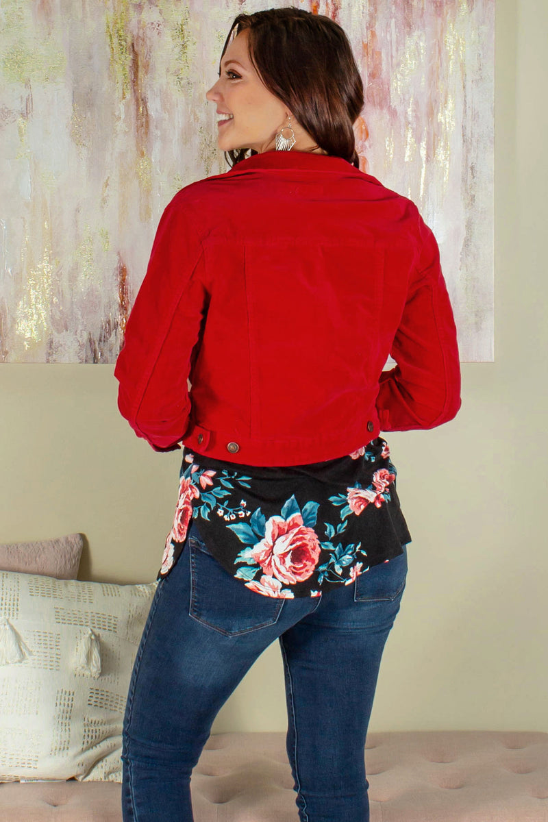 cute red corduroy jacket, cute cropped corduroy jacket