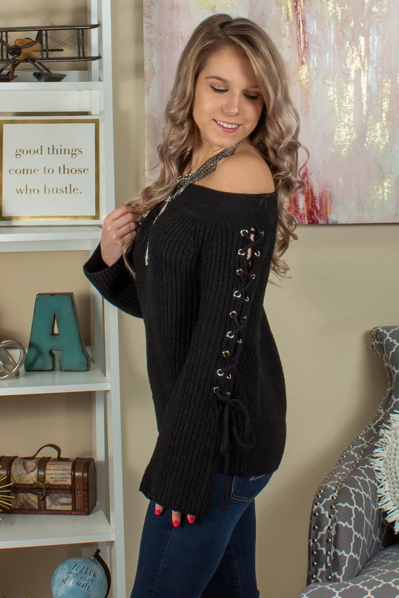 Black Off the Shoulder Sweater, Black Off the Shoulder Top