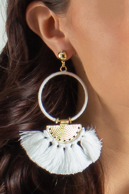 white earrings, white fashion earrings, white boutique earrings, tassel earrings
