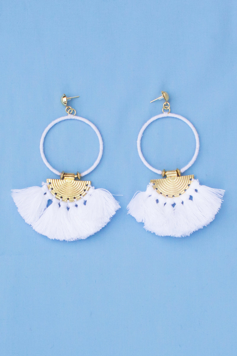tassel boutique earrings, tassel fashion earrings, cute white earrings, trendy white earrings, cute tassel earrings, trendy tassel earrings