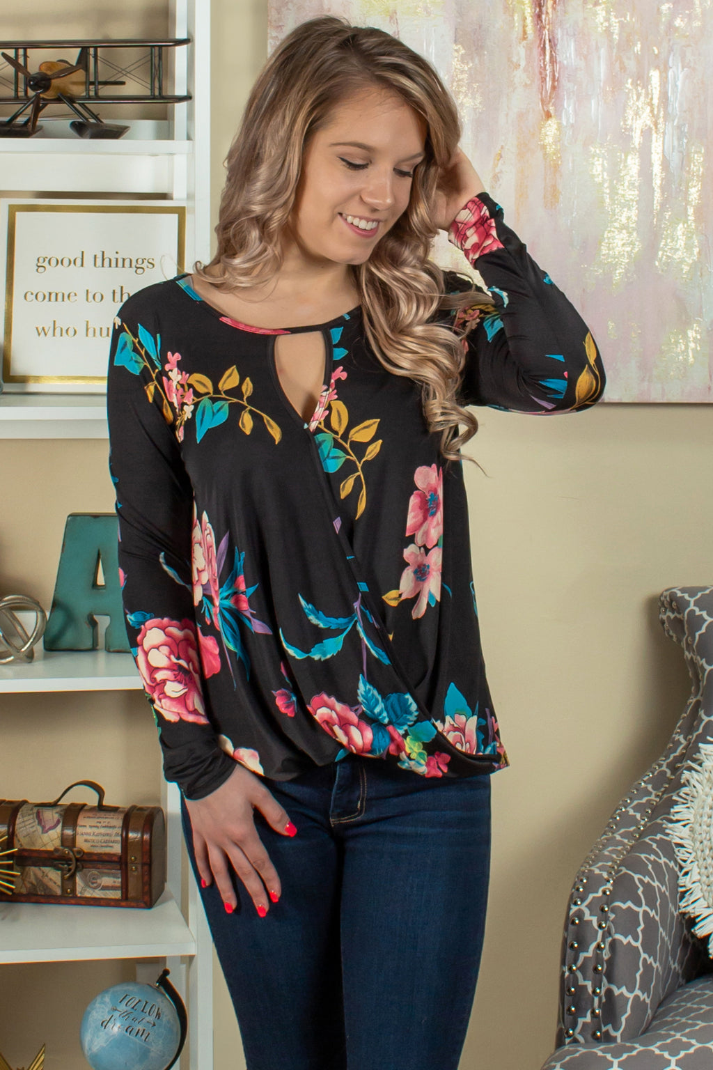 Black floral blouse, Black floral top, Boutique tops