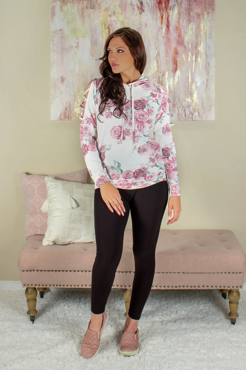 Floral cold shoulder hoodie, Floral cold shoulder pullover