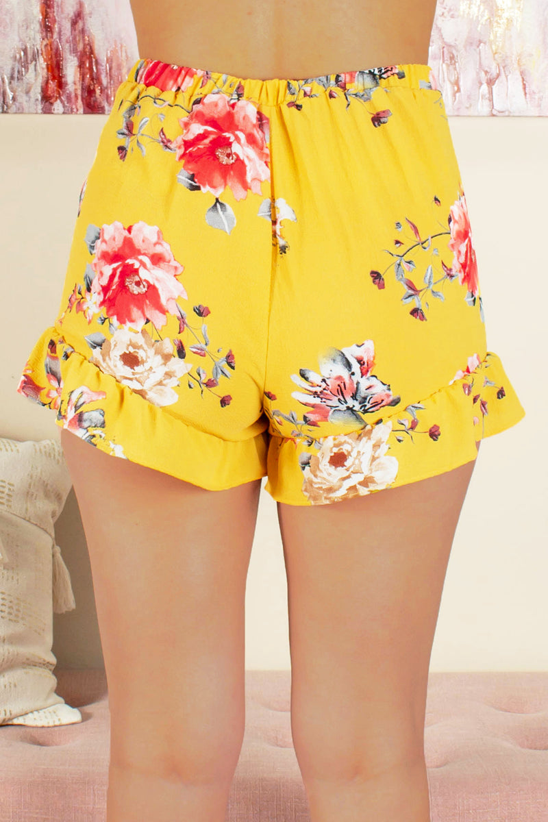 Ruffle floral shorts, Yellow ruffle floral shorts, Cute floral shorts, Cute yellow floral shorts 5.	Cute yellow shorts