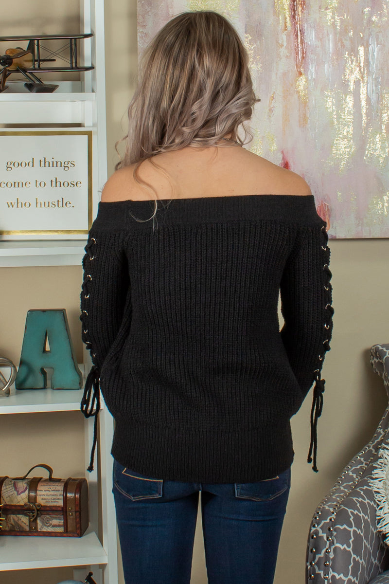 Womens Black Off the Shoulder Top, Womens Off the Shoulder Sweater