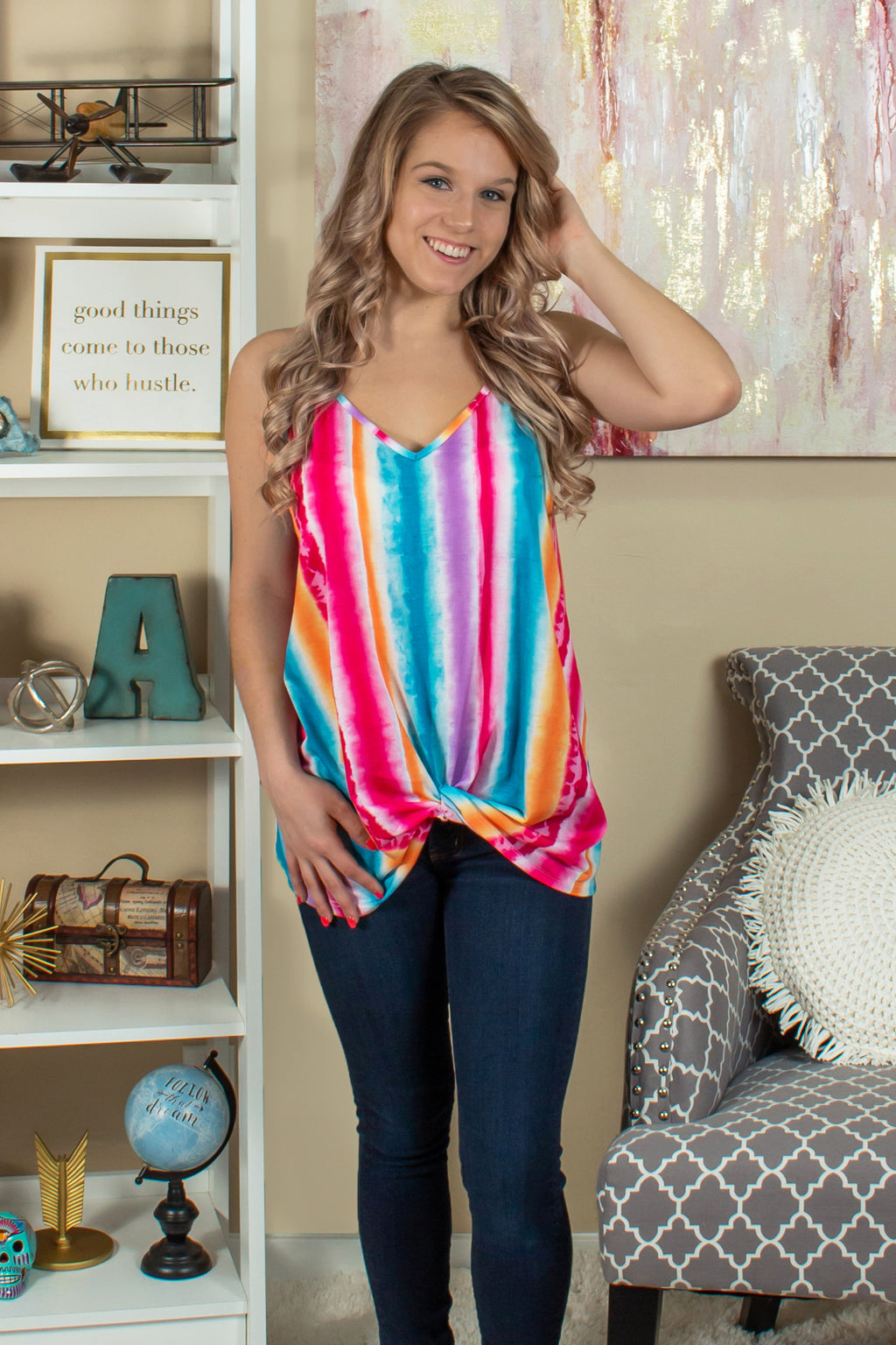 Tank Top, Rainbow Tank Top, Multicolored Tank Top