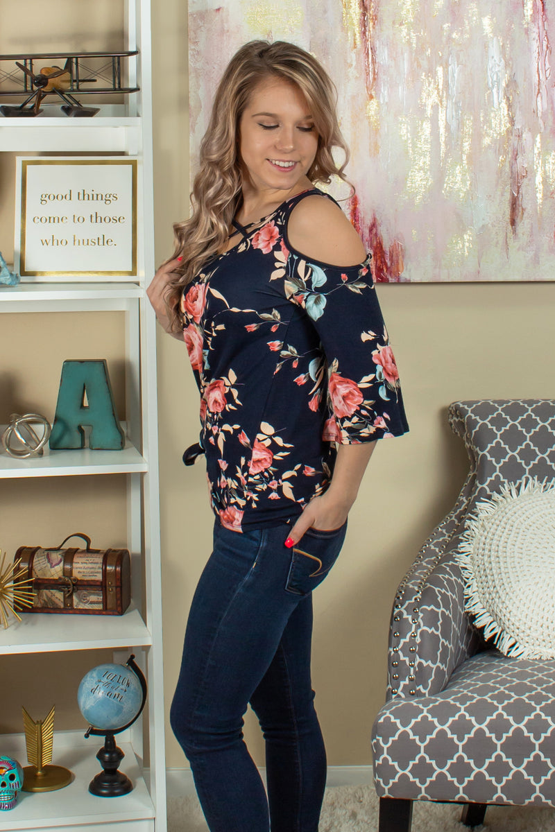 Cute Navy Floral Top, Cute Navy Floral Blouse, Cute Cold Shoulder Top
