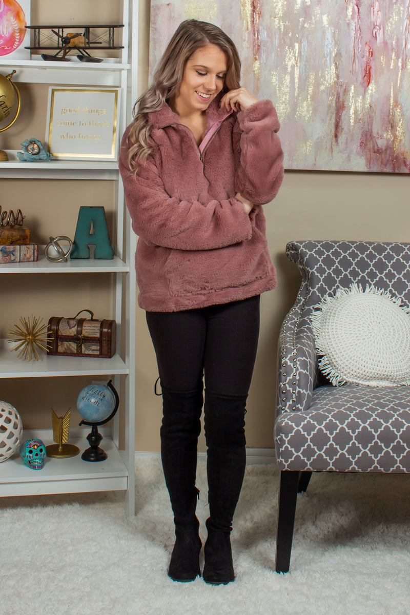 womens pullover, Sherpa, pink Sherpa pullover