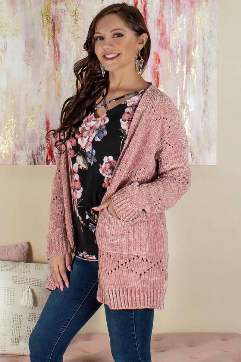 Cute chenille cardigan, Cute blush chenille cardigan