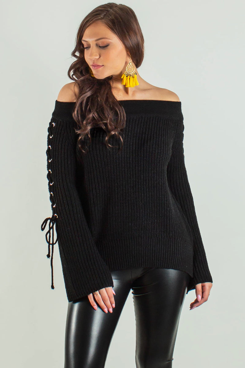 Boutique Black Off the Shoulder Top, Boutique Black Off the Shoulder Sweater