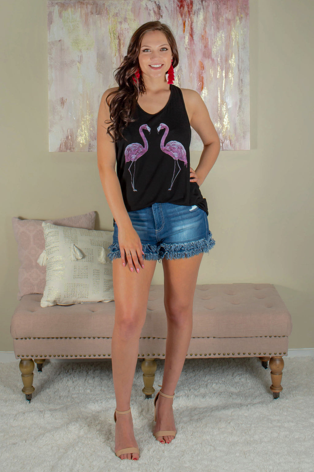 black tank top, flamingo tank top, black flamingo tank top