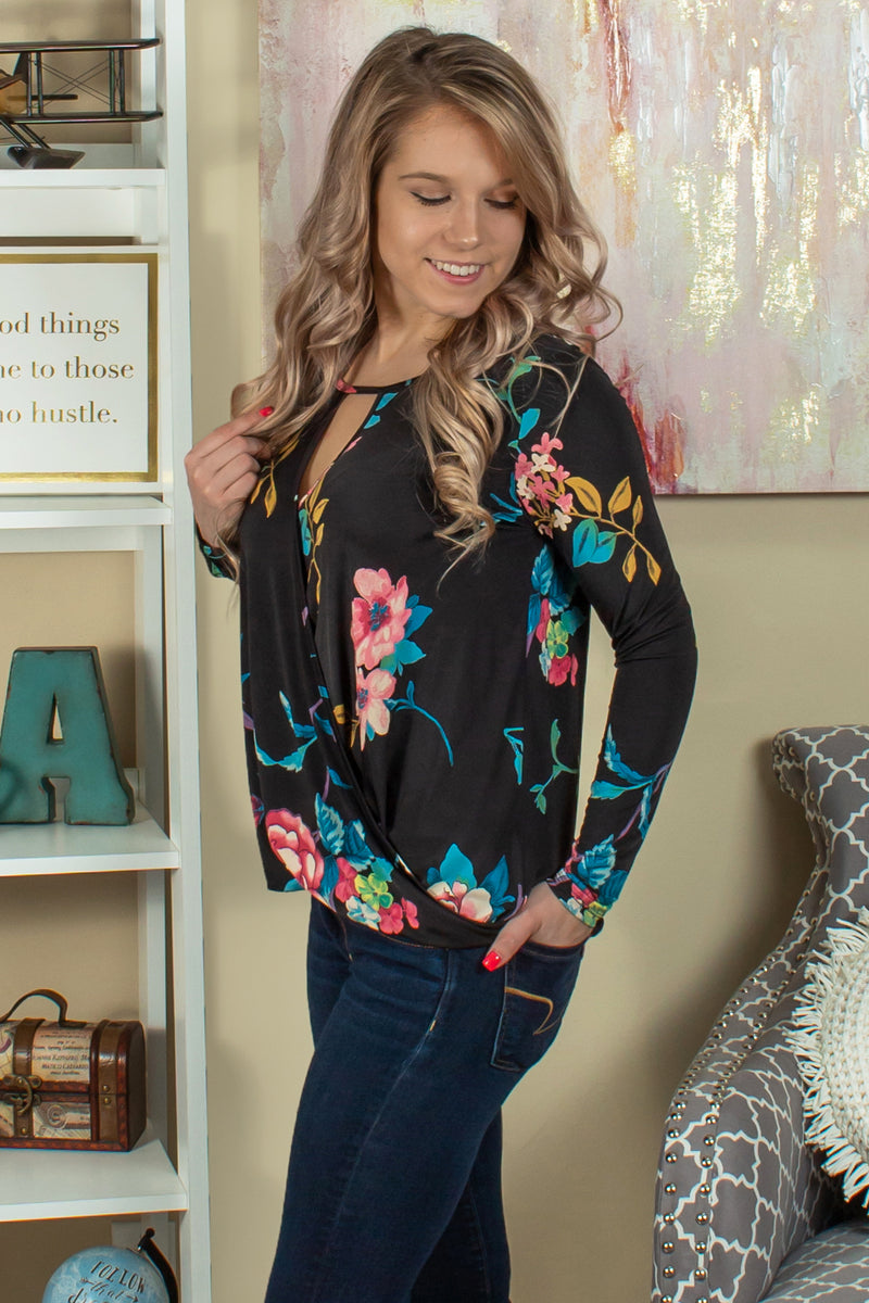 Cute black floral blouse, Cute black floral top