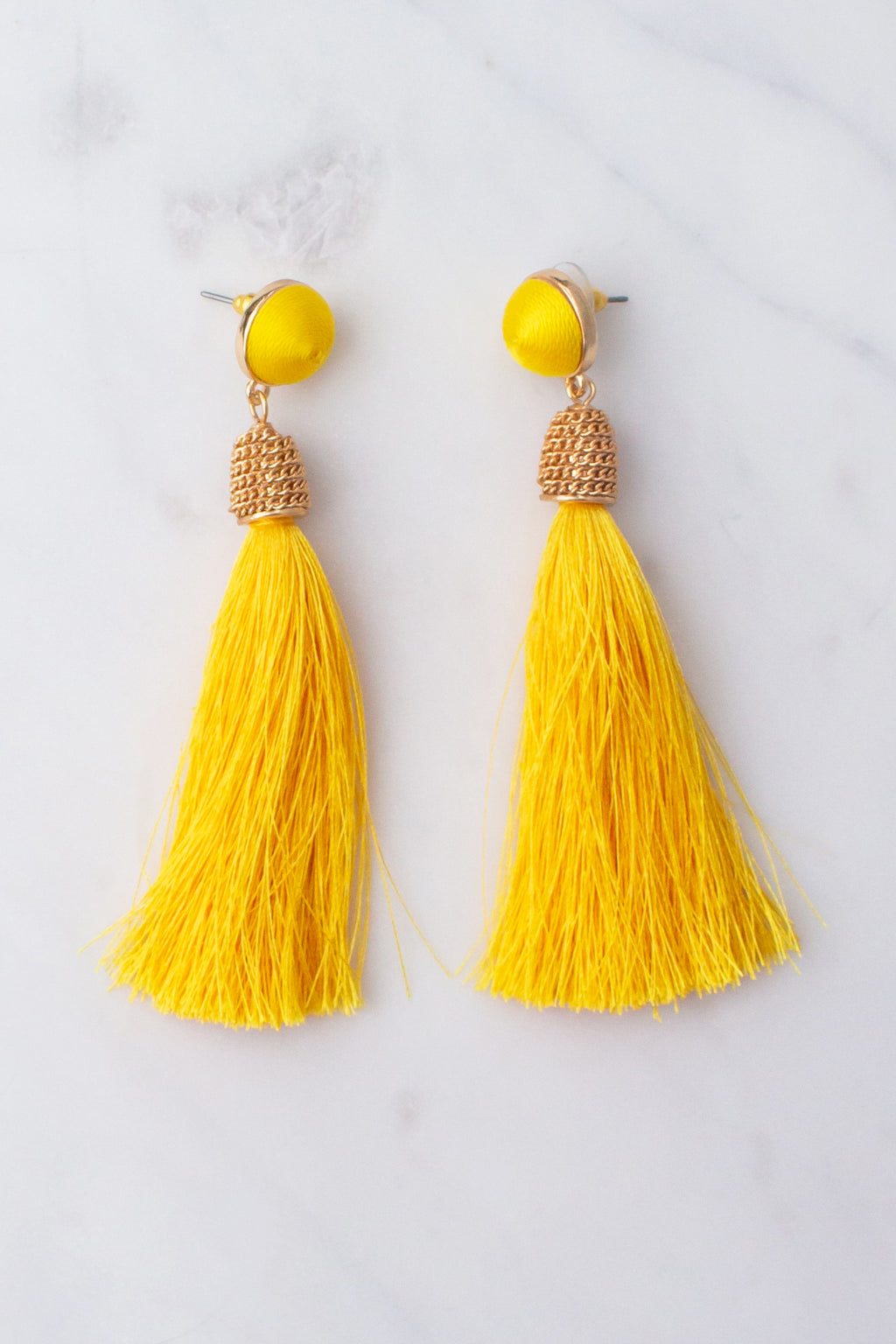 cute yellow tassel earrings, trendy yellow tassel earrings, gold earrings, boutique tassel earrings, fashion tassel earrings