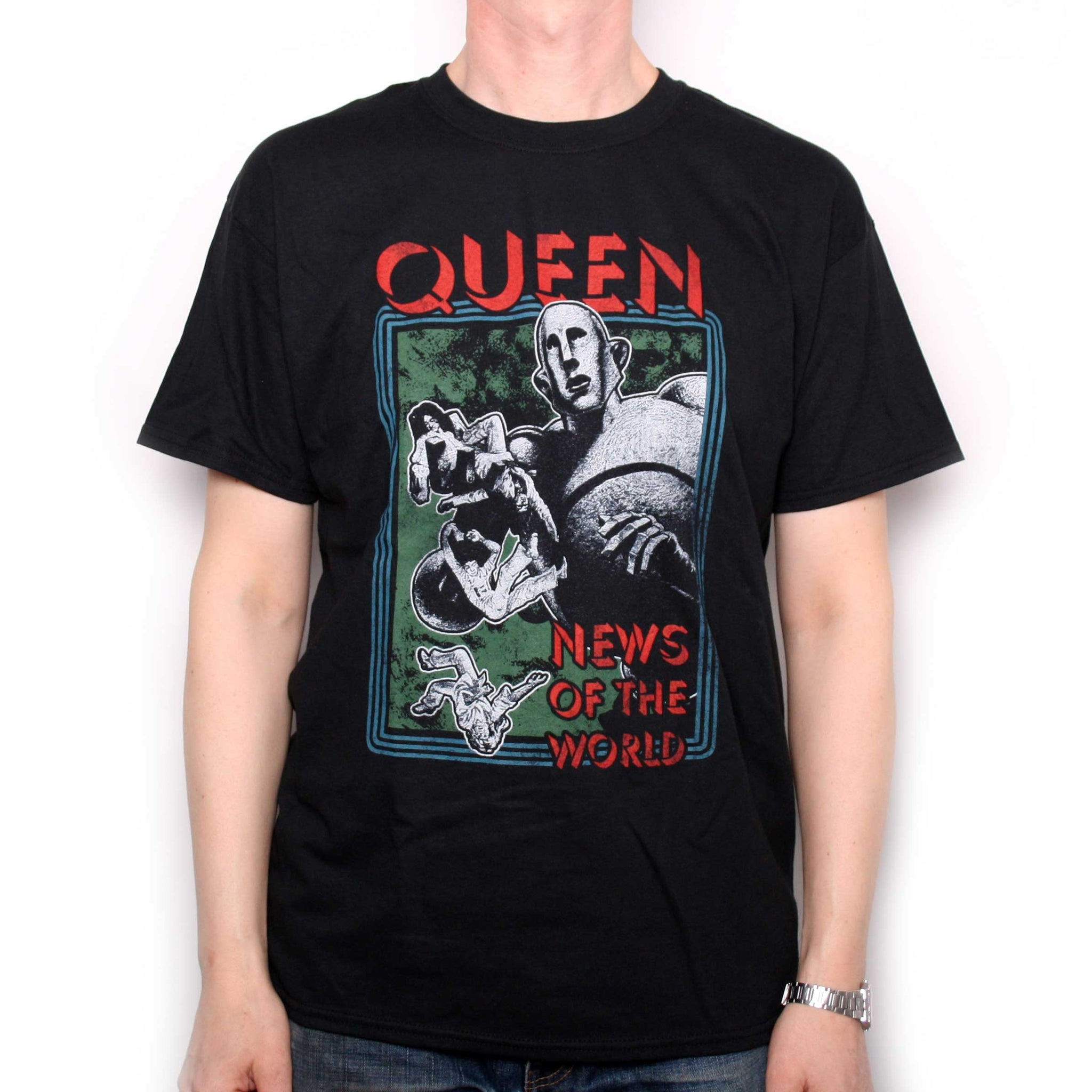 Queen T Shirt , News Of The World Retro Distressed Design 100% Official