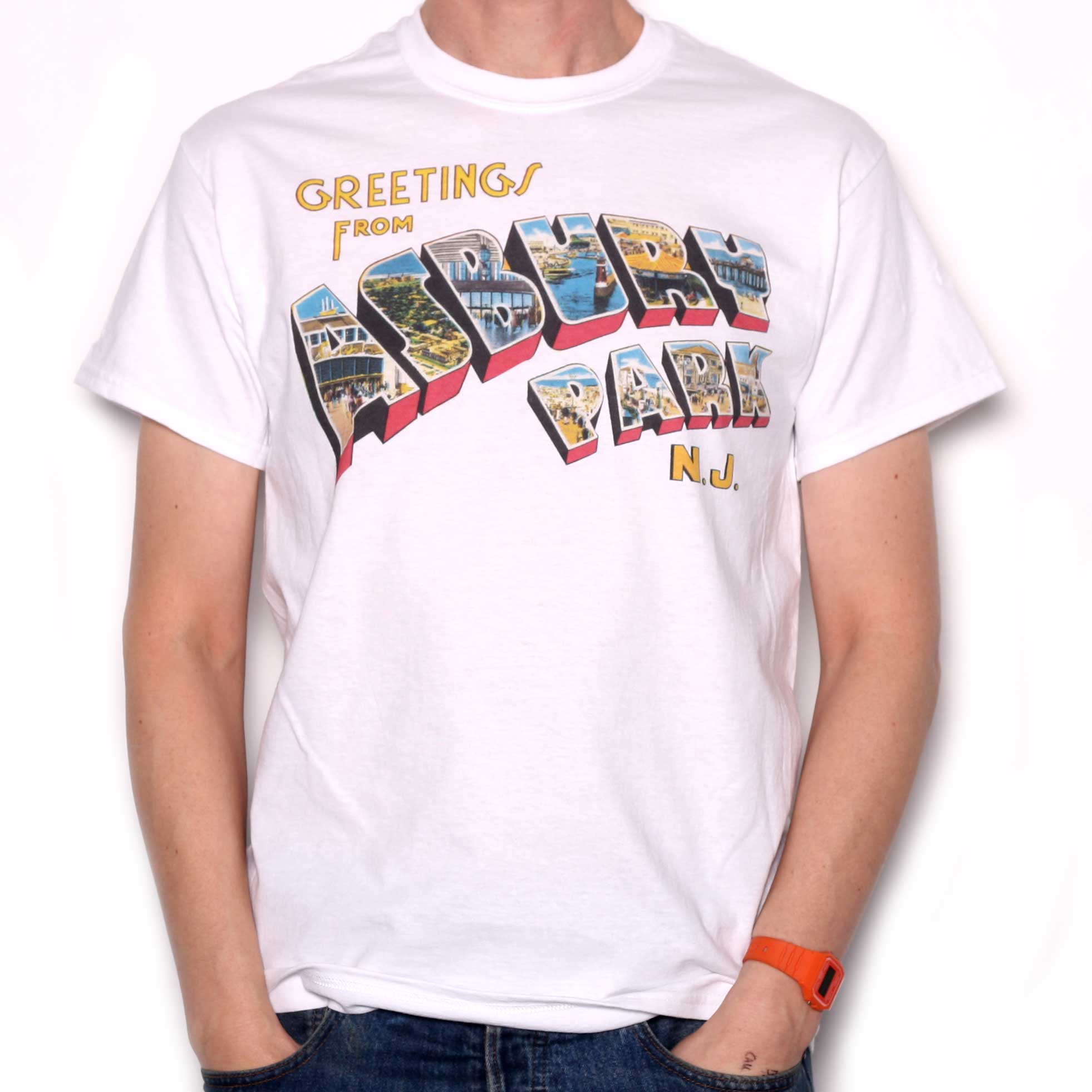 Greetings From Asbury Park T Shirt Full Colour As Used By