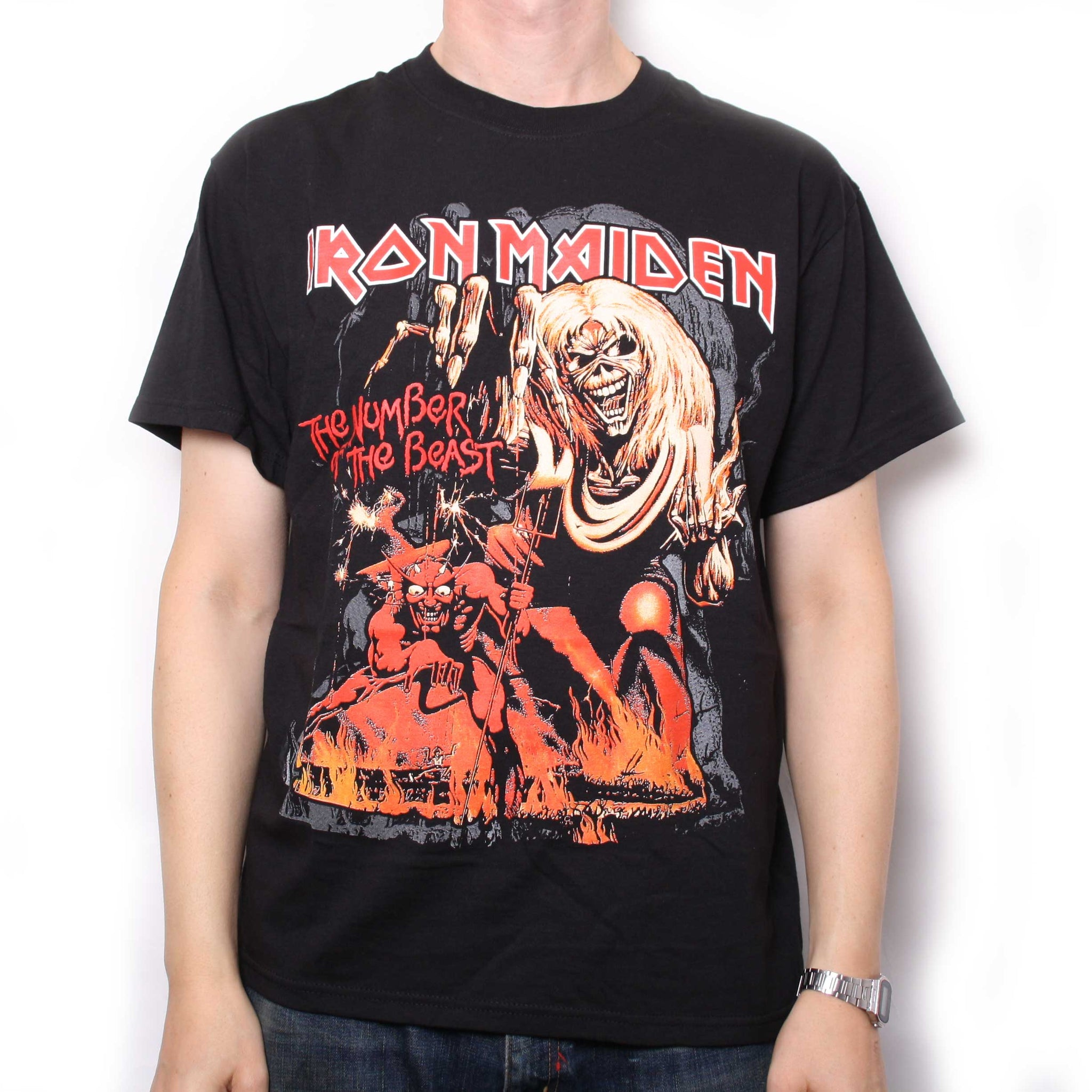 iron maiden t shirt number of the beast red shade 100 official