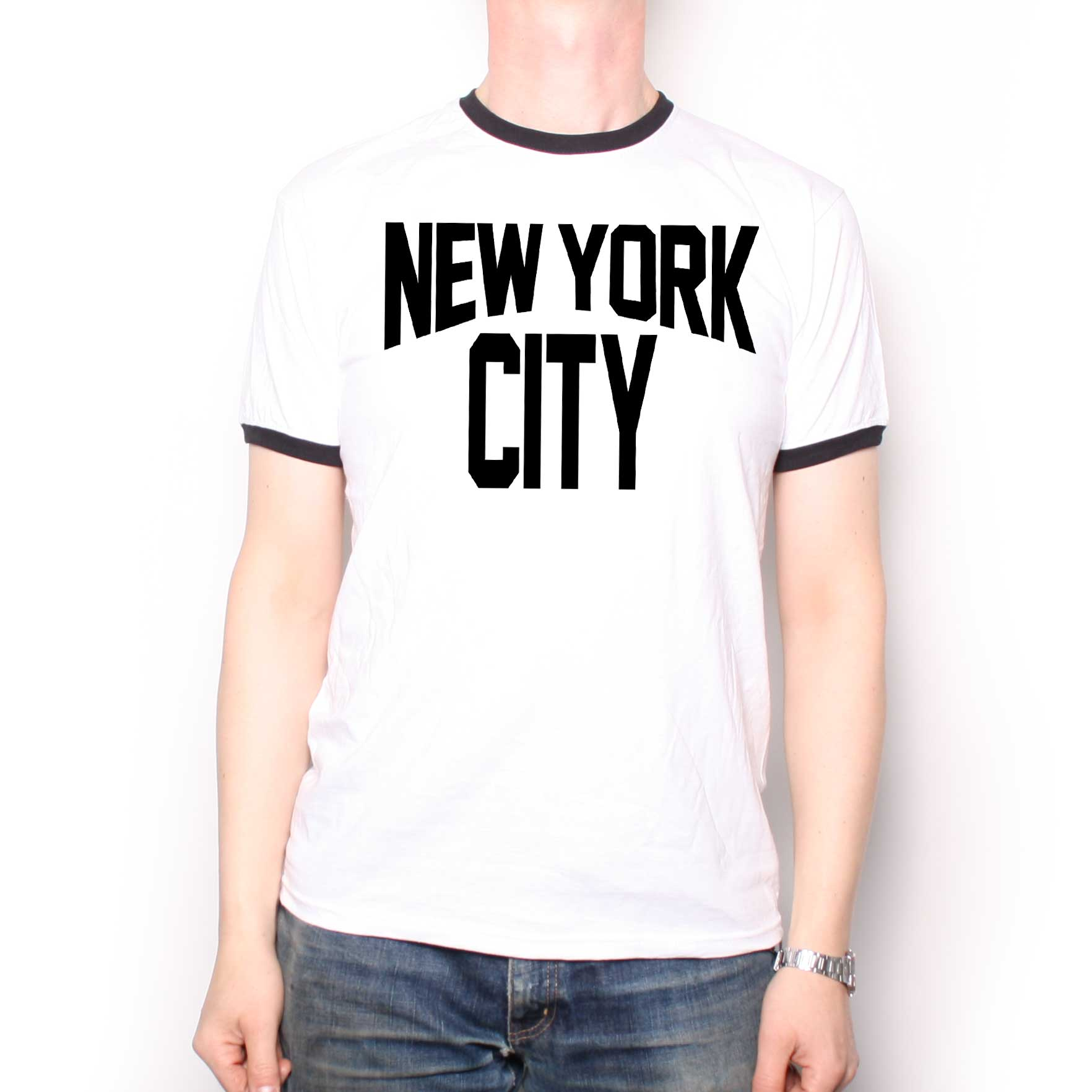 As Worn By John Lennon T Shirt New York City Ringer Classic Rock T Shirts At Old Skool Hooligans