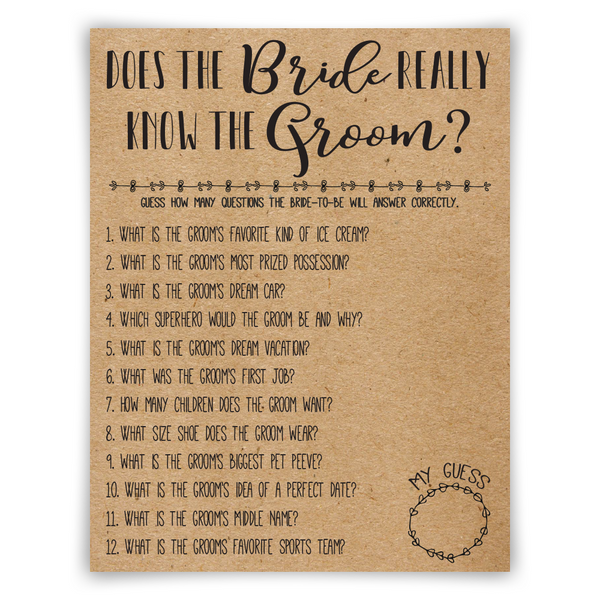 Bride And Groom Questionnaire: 5 Bridal Shower Game Bundle