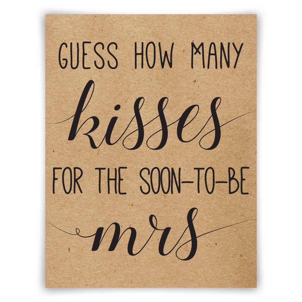 It is a picture of Bewitching How Many Kisses for the Soon to Be Mrs Free Printable