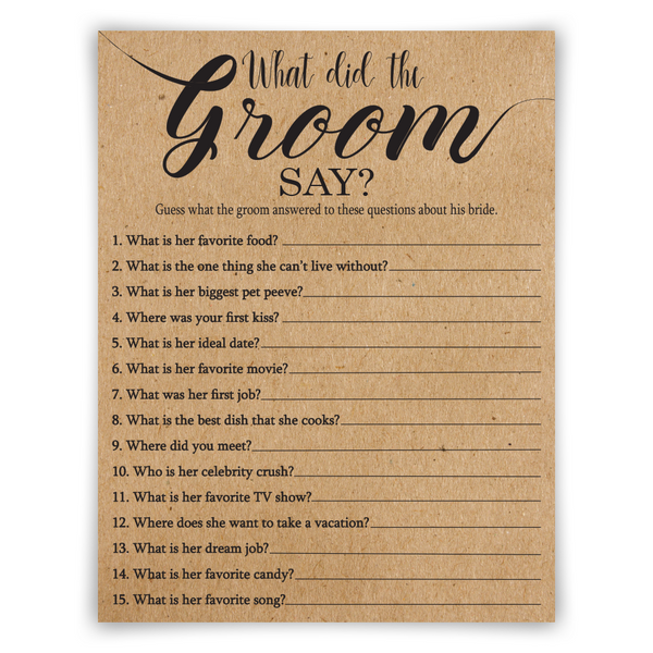 What Did The Groom Say?