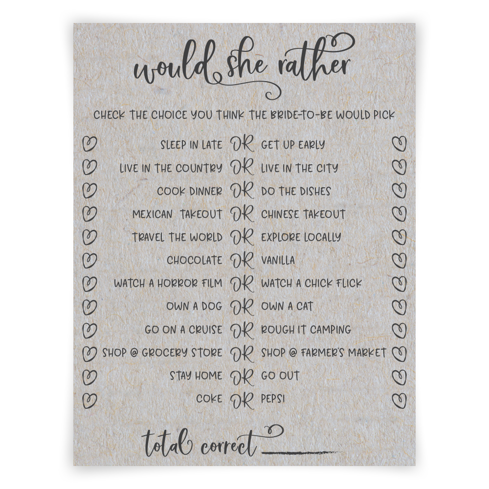 picture relating to Would She Rather Bridal Shower Game Free Printable identified as Gray Would She As an alternative