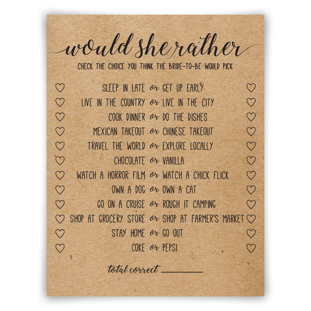 photograph about Would She Rather Bridal Shower Game Free Printable identify Would She Quite?
