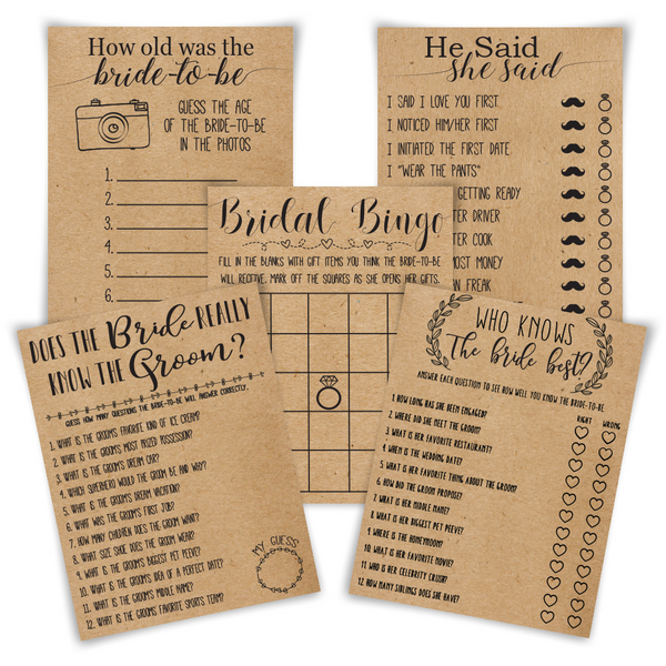 5 bridal shower game bundle