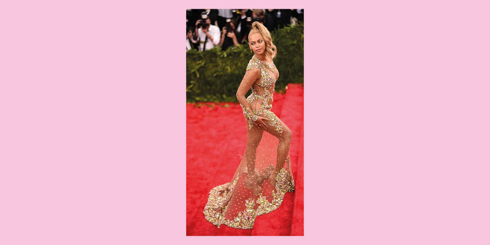 West Carolina Met Gala Beyonce Givenchy Formation PonyTail Sequin 2015