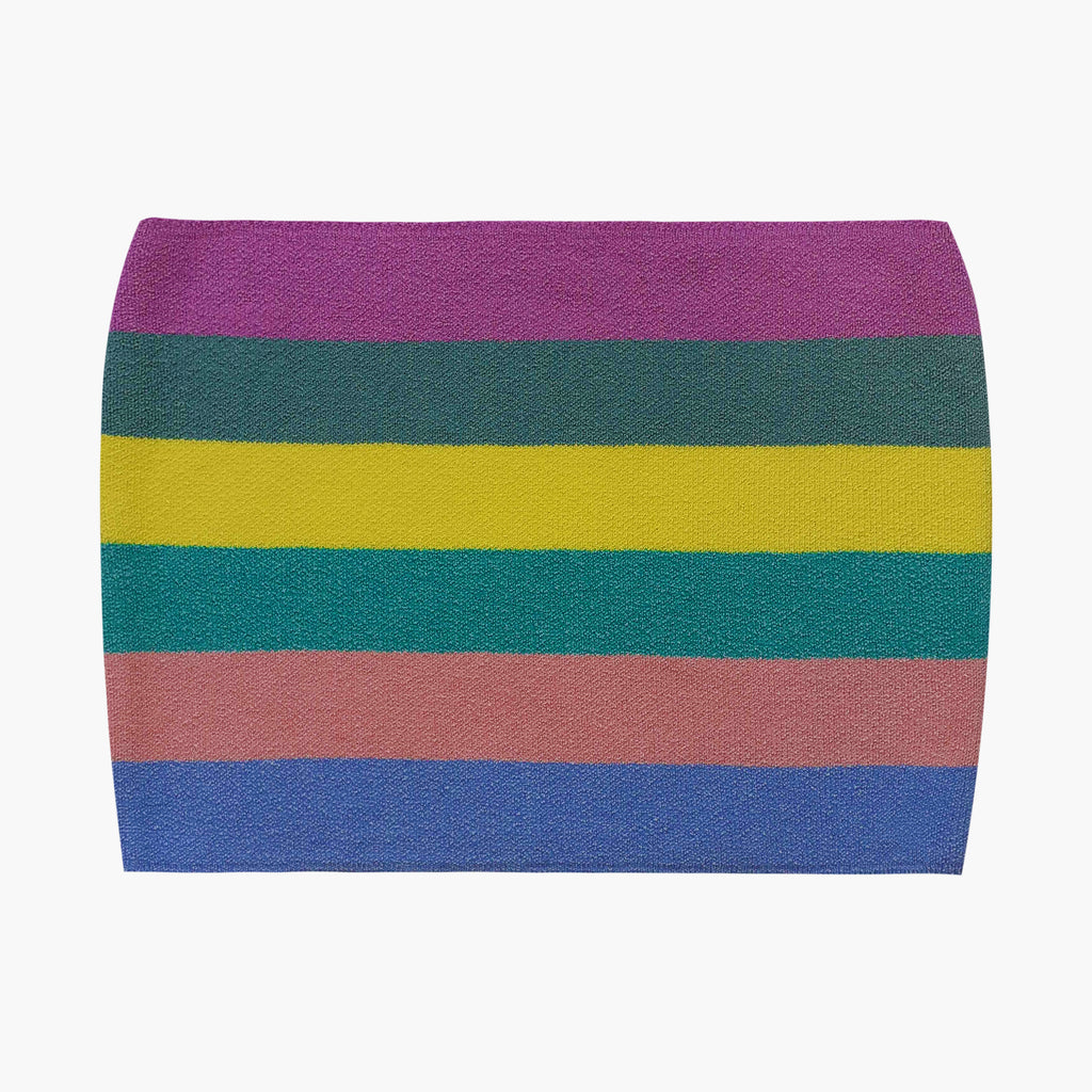 West Carolina good quality stretch Multicolour Striped Top. Purple, Green, Yellow, Pink, Blue. Perfect for Spring and Summer or layering in Winter over a button up shirt. Stylish basics. Dress up and dress down.