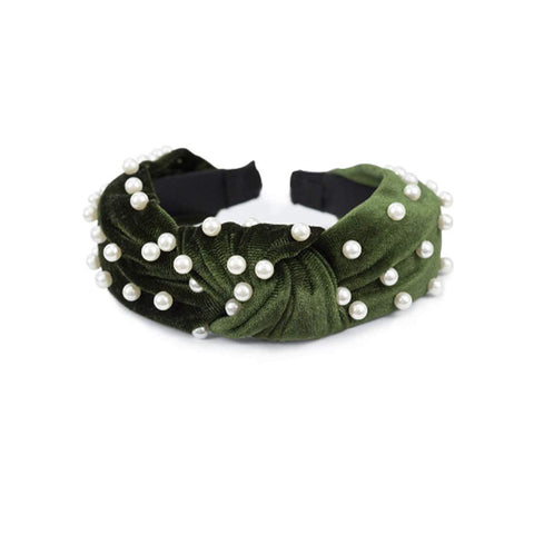 West Carolina Green Pearl Headband Fashion Retro Simple Statement Piece Comfortable Stylish Funky Cute