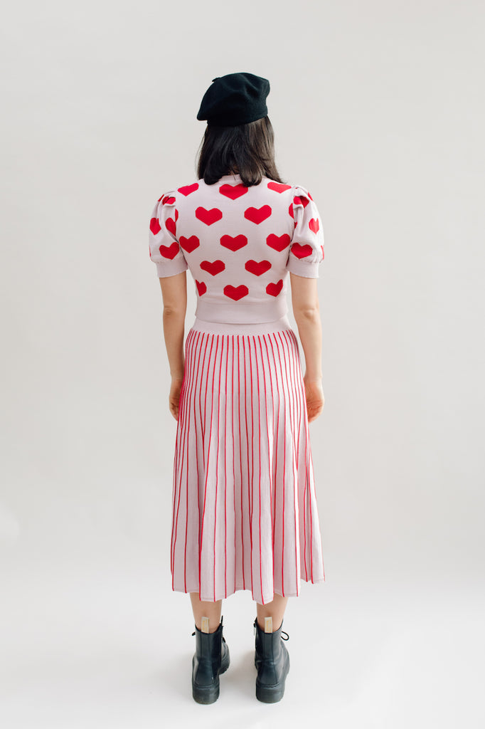 West Carolina Knitted Cropped Hearts top with puff sleeves in pink