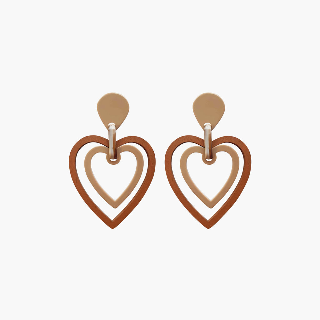 west carolina brown hearts statement earrings made out of wood and resin