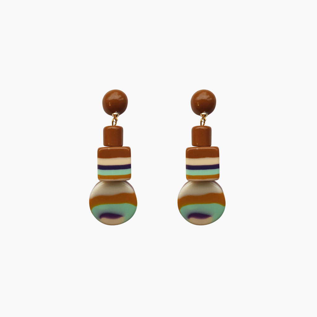 west carolina brown shapes statement earrings made out of resin