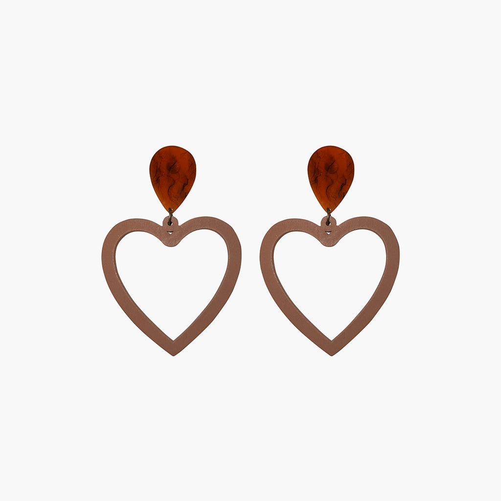 west carolina brown tortoiseshell heart statement earrings made out of resin and wood