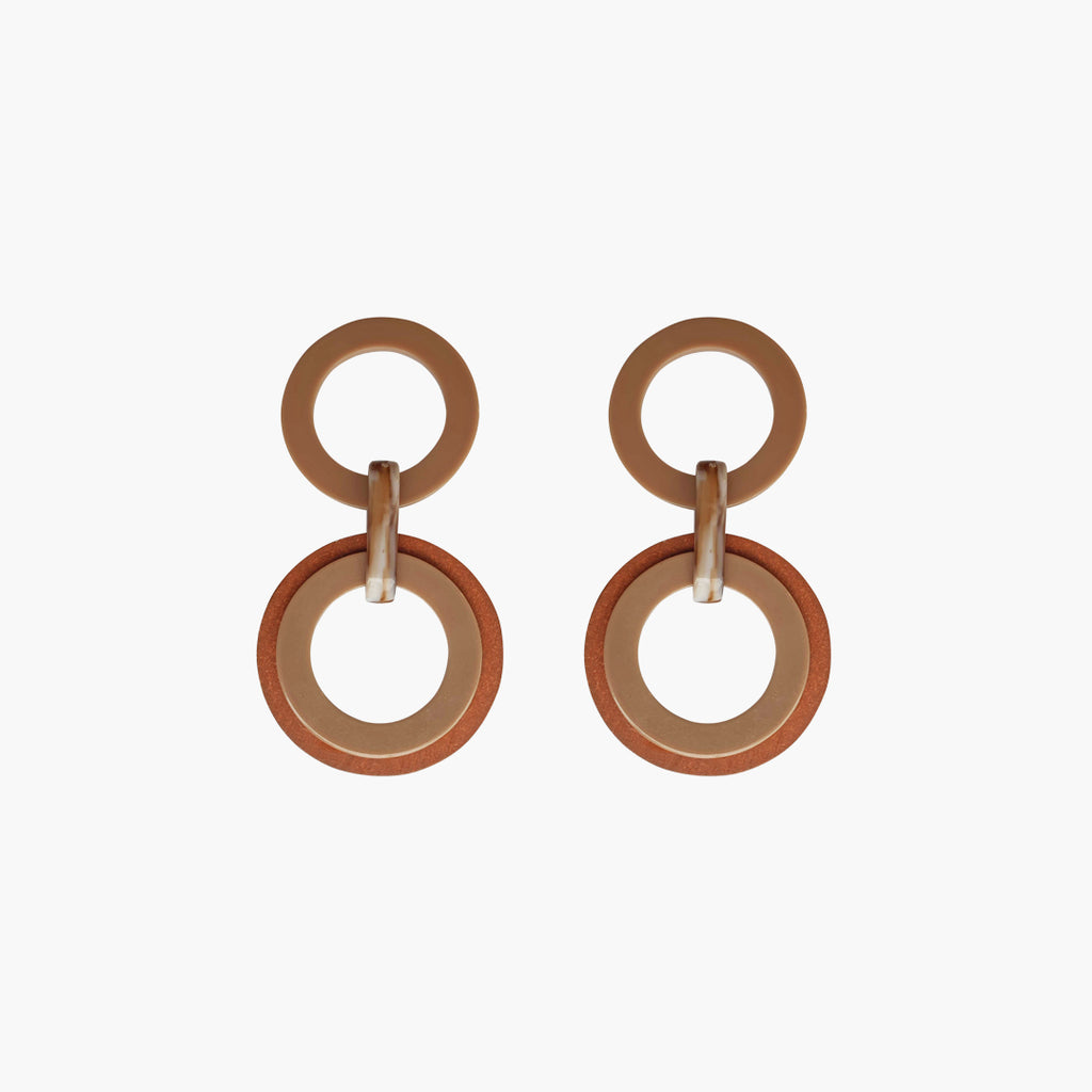 west carolina cream and brown double hoops statement earrings made out of resin and wood